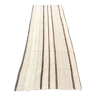 Handwoven Turkish Tribal Stripe Kilim Runner Rug - 2′11″ × 9′1″ For Sale