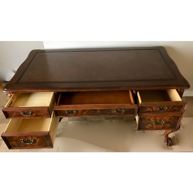 Hekman Leather Top Writing Desk For Sale - Image 6 of 13