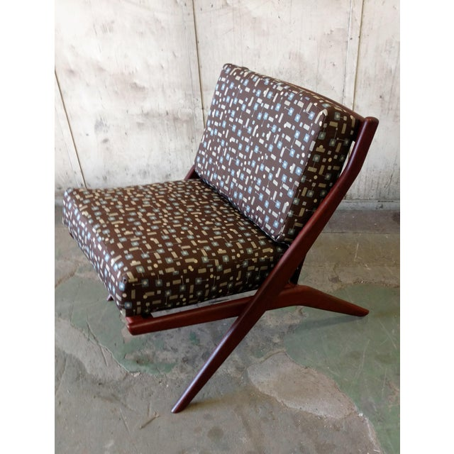 Teak Scissor Chair With Space Age Fabric by Folke Ohlsson for DUX For Sale - Image 9 of 11