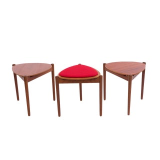 Hans Olsen Reversible-Top Side Tables for Bramin - Set of 3 For Sale