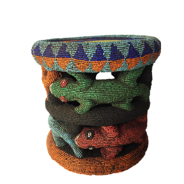 """Beaded Wood Bamileke Leopard Stool /Table Cameroon 8.5'""""h For Sale - Image 4 of 13"""