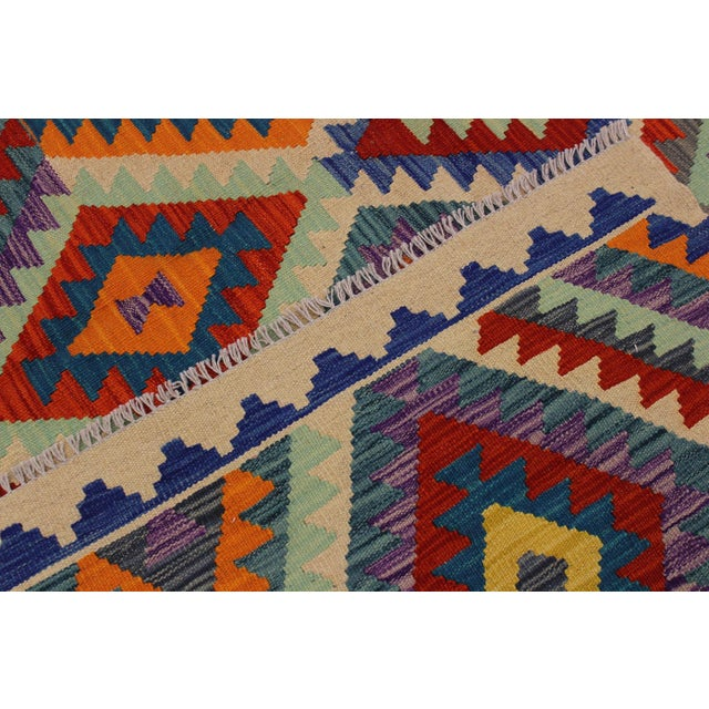 Textile Contemporary Bohomian Style Kilim Lan Ivory/Blue Hand-Woven Wool Rug - 8'1 X 9'7 For Sale - Image 7 of 8