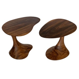 "Sculptural Solid Walnut ""Pedem"" Side Table Morten Stenbaek - A Pair For Sale"
