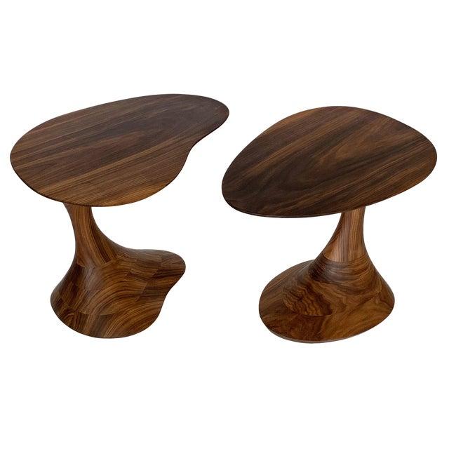 "Sculptural Solid Walnut ""Pedem"" Side Table Morten Stenbaek - A Pair For Sale"