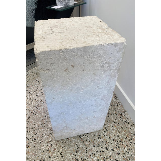 Late 20th Century Vintage Low Pedestal in Cream Color Natural Travertine Stone For Sale - Image 5 of 9