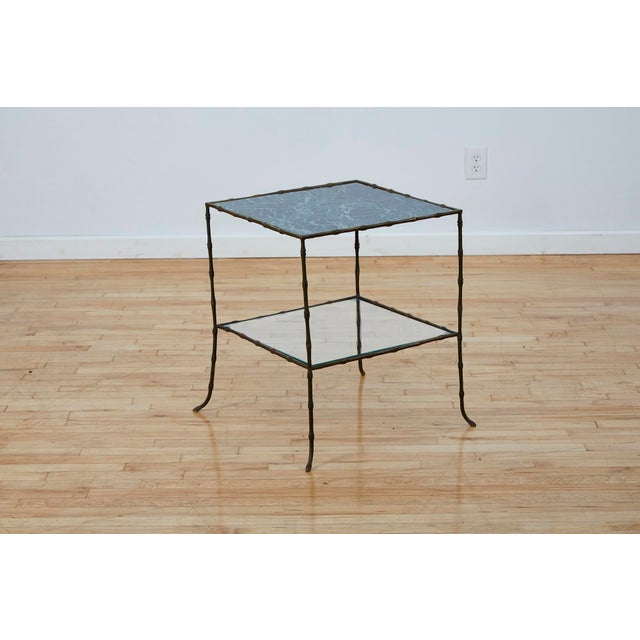 Mid-Century Modern Vintage Maison Bauges Style Two-Tier Faux Bamboo Side Table For Sale - Image 3 of 13