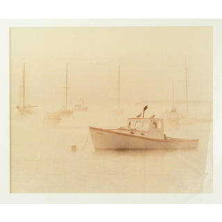 Large Misty Harbor Boat Photograph For Sale