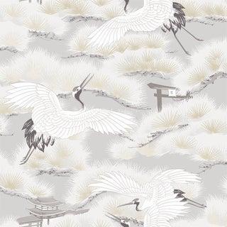Asian Toile, Winter White Wallpaper For Sale