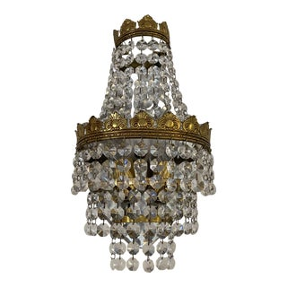 Antique Crystal Chandelier Wall Light For Sale