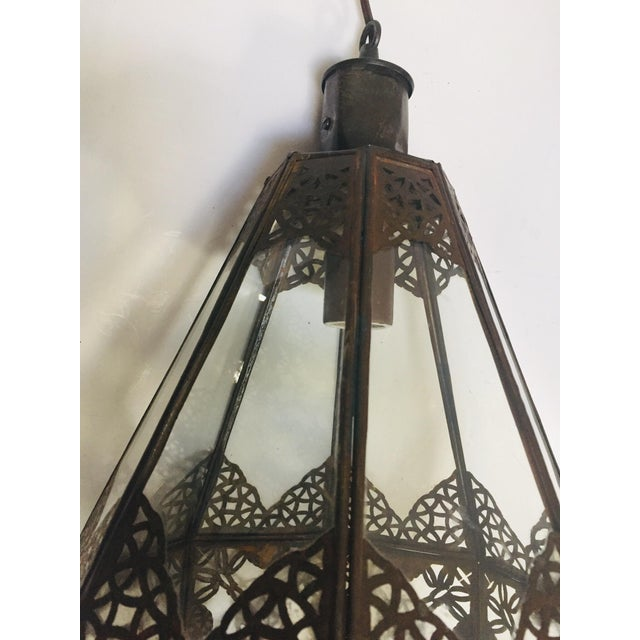 Metal Moroccan Light Fixture in Moorish Design Clear Glass and Metal Filigree For Sale - Image 7 of 12