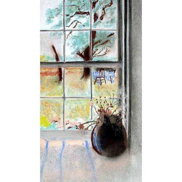 Boho Chic Sunny Garden Window View Pastel Drawing For Sale - Image 3 of 4