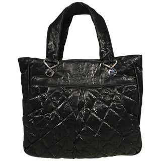 Chanel Black Shimmery Soft Quilted Leather Tote Bag For Sale