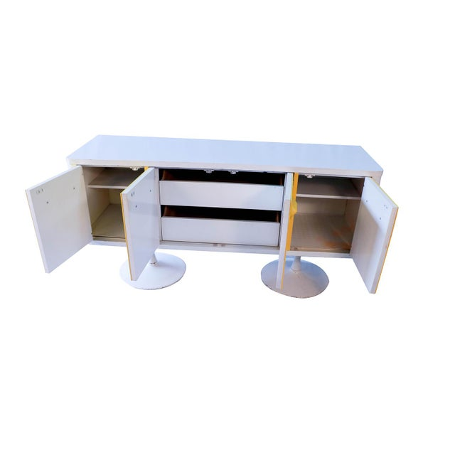 Fantastic space age vintage early 1970s sideboard credenza in the style of Raymond Loewy. Chapter One Premier Series for...