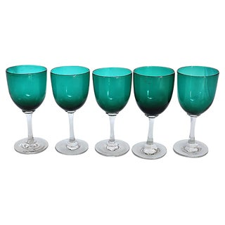 Antique Victorian Wine Stems - Set of 5 For Sale