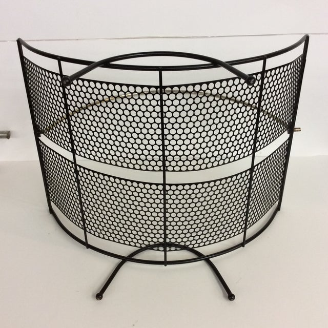 Contemporary Mid-Century Black Pierced Lacquered Metal Firewood Holder For Sale - Image 3 of 8