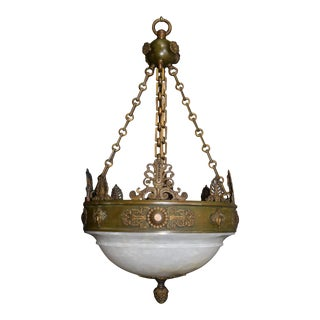 Antique chandelier, alabaster Empire style For Sale