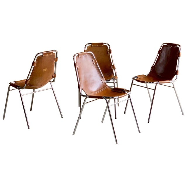Les Arcs Leather Tan Dining Chairs, 1970s - Set of 4 For Sale - Image 11 of 11