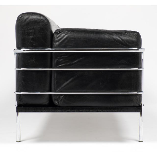 Vintage Le Corbusier Style Leather and Chrome Sofa For Sale - Image 5 of 10