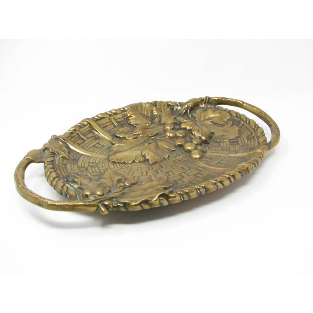Antique Jan Van Neste Art Nouveau Bronze Decorative Tray With Grape Leaves For Sale In Chicago - Image 6 of 13