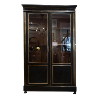 Directoire Period Black Painted Two Door Cabinet With Original Glass Upper and Brass Inlay Details, French C. 1800 For Sale