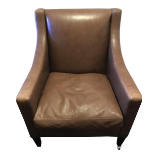 Modern George Smith Georgian Leather Chair With Four Wheels