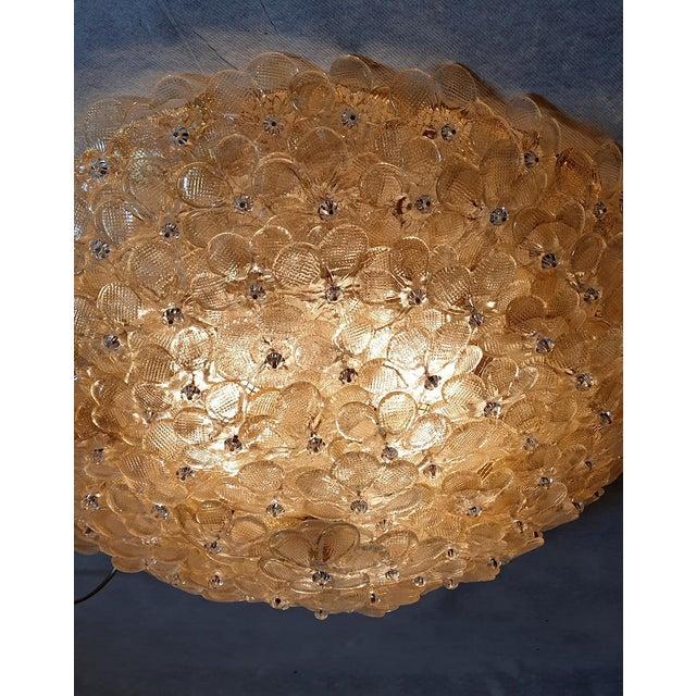 1970s Barovier Large Mid Century Modern Murano Glass Flower Flush Mount Light For Sale - Image 11 of 11