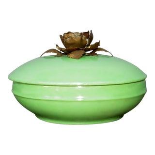 Mint Porcelain Vanity Jar For Sale