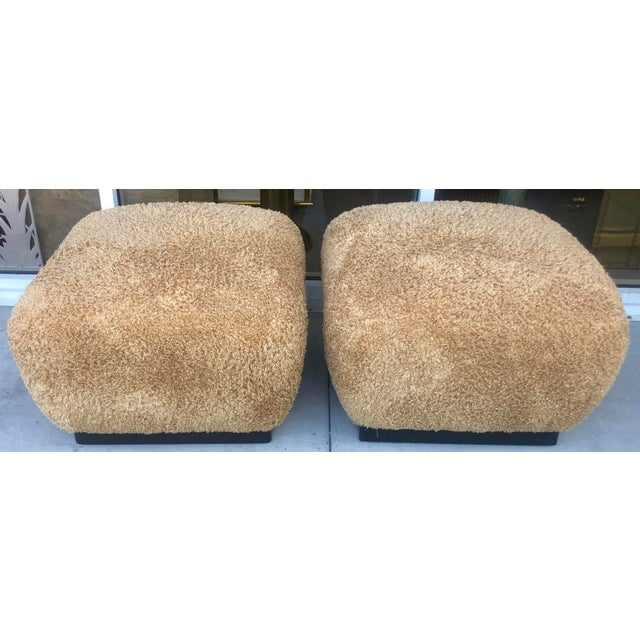 Stunning pair of large ottomans in the manner of Karl Springer manufactured by high end Marge Carson.Elegant and very...