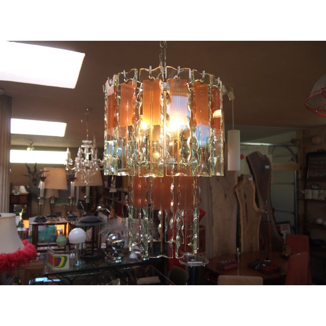 Italian Mid-Century Coral & Crystal Chandelier - Image 6 of 6