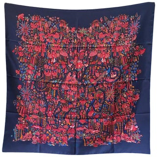 Hermes Legende Moghole Silk Scarf in Navy Blue For Sale