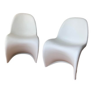 Matte White Full Size Panton Dining Chairs - A Pair For Sale
