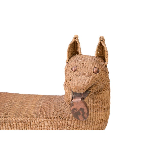 Mario Lopez Torres woven reed and copper dog bench or sculpture. This example utilizes reeds picked from the marshes of...