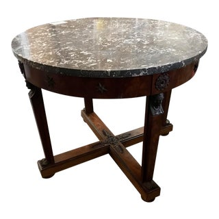 Empire Style, Gris Marble Top; Mahogany Center Table: Owned by Zsa Zsa Gabor! For Sale