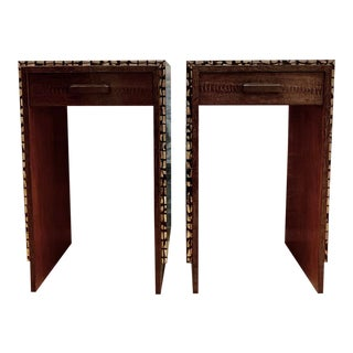 R & Y Augousti Chocolate Ostrich Leg and Mother of Pearl Side Tables - a Pair For Sale