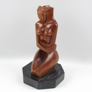 1950s Cubist Carved Mahogany Woman Sculpture Preview