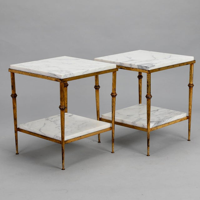 Pair of Spanish Gilt Metal and White Marble Side Tables - Image 7 of 11