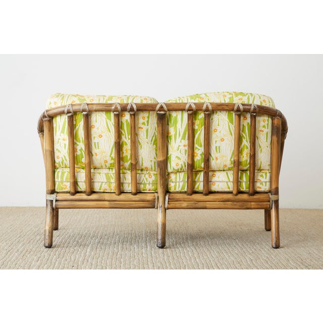 McGuire Organic Modern Bamboo Rattan Settee Loveseat For Sale - Image 12 of 13