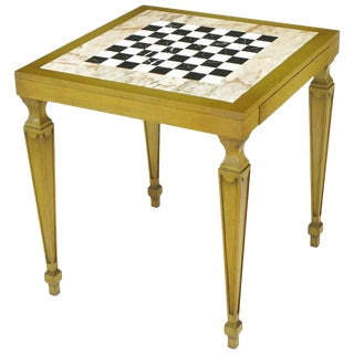 Bleached Walnut and Inlaid Marble Regency Game Table For Sale