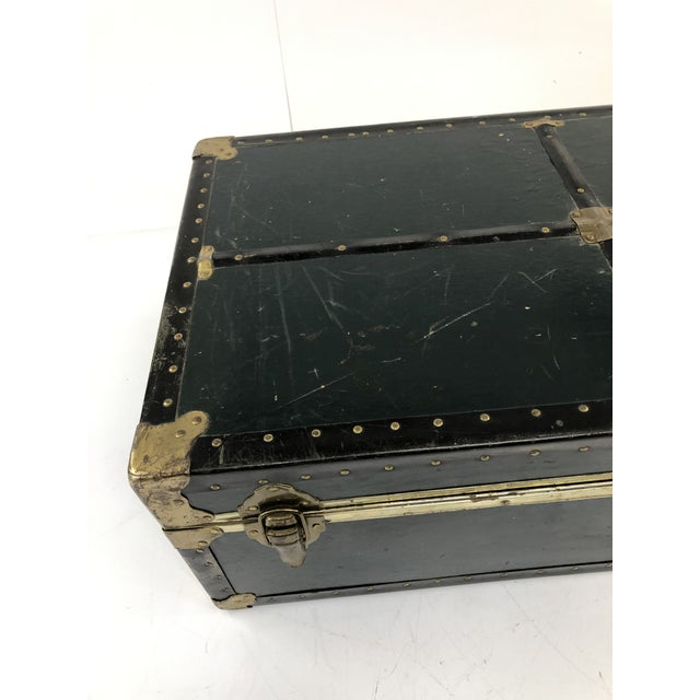 Vintage Vulcanized Black Steamer Trunk With Tray For Sale - Image 4 of 12