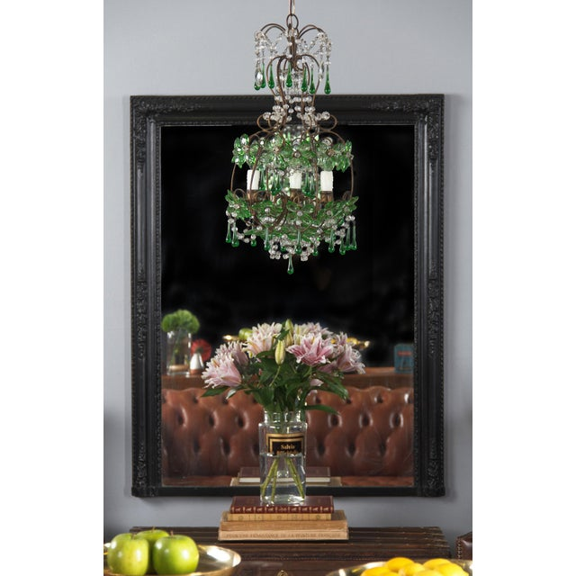 1920s French Green Glass and Crystal Chandelier For Sale - Image 10 of 13