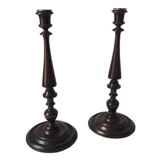 1900s Traditional English Mahogany Candlesticks - a Pair For Sale