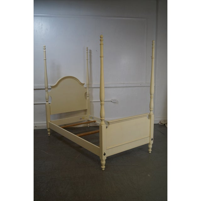 Ethan Allen Painted Twin Poster Beds - Pair - Image 3 of 10
