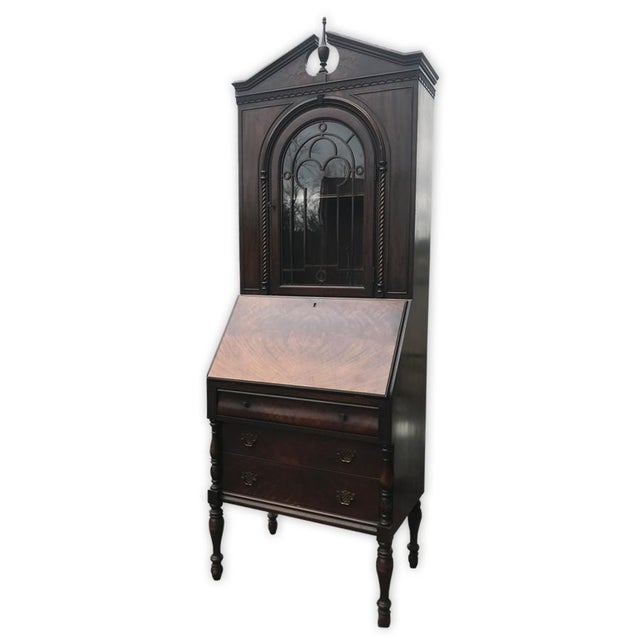 Gothic Antique Victorian Carved Gany Drop Front Secretary Desk For Image 3 Of