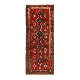 Antique Northwest Red and Beige Geometric Wool Persian Runner - 3′3″ × 8′1″ For Sale