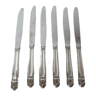 "Mid-Century Silver Plate ""Danish Princess"" Pattern Dinner Knives - Set of 6 For Sale"