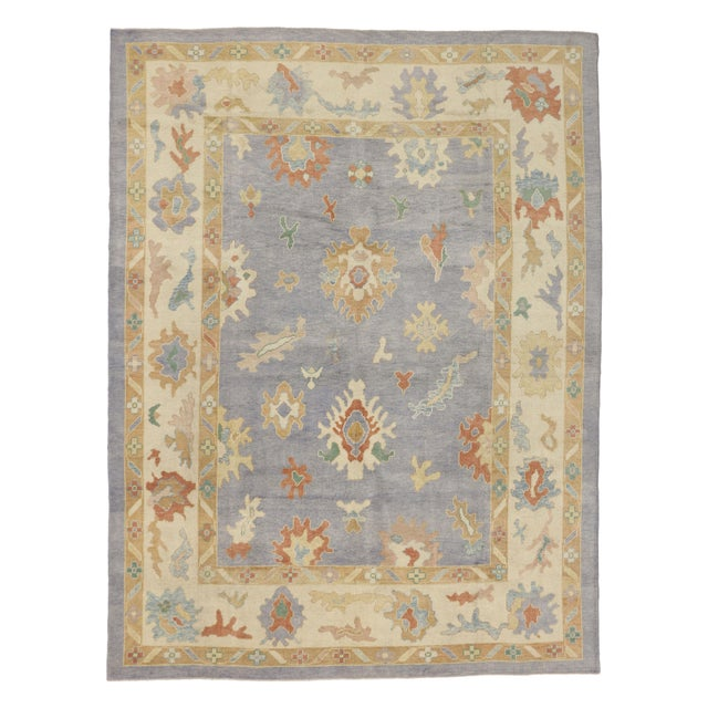 Textile Contemporary Turkish Oushak Rug in Pastel Colors Boho Chic Style, 9'5 x 12'5 For Sale - Image 7 of 8