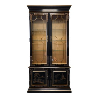 HABERSHAM Asian Chinoiserie Black Lacquer Curio China Display Cabinet