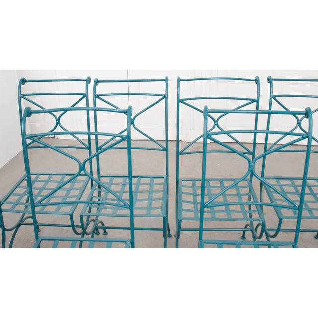 Suite of Eight Early 20th-Century Neoclassical-Style Painted Wrought-Iron Side Chairs For Sale In Baton Rouge - Image 6 of 13