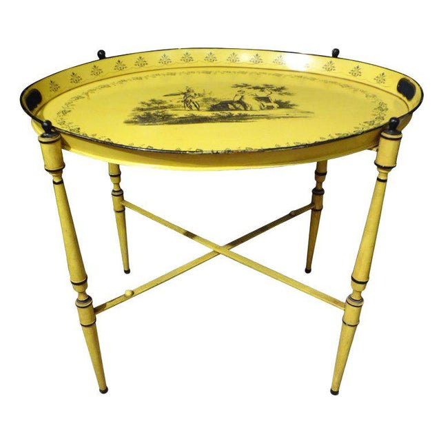 Yellow 1940's Italian Neoclassical Tole Tray Table For Sale - Image 8 of 8