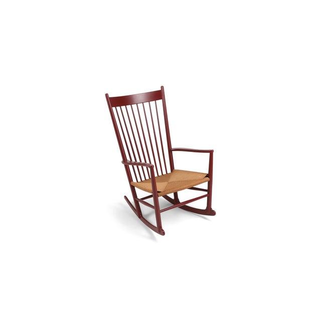 Hans Wegner J16 Rocking Chair in Burgundy For Sale - Image 9 of 9